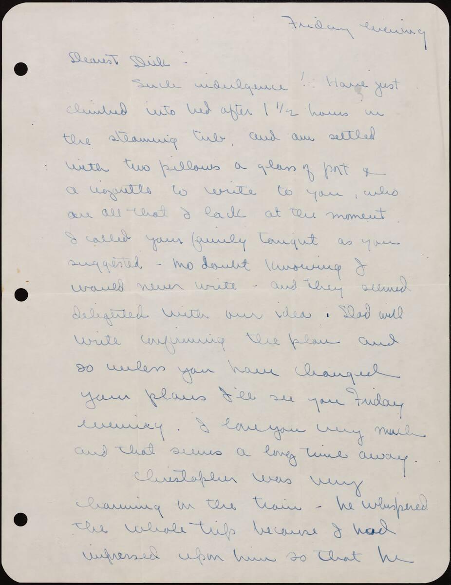 Correspondence from Phyllis Diebenkorn to Richard Diebenkorn