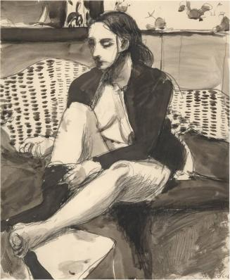 Untitled (Seated Woman, Wicker Couch)